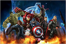 Marvel Avengers Hulk Thor Iron Man Movie Poster Art Print 91x61 cm