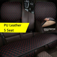 PU Leather Seat Cover Protect Pad W/ Pocket 2PCS Front +1PC Rear Seat Cushion