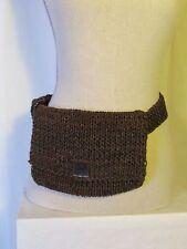 authentique sac pochette vintage CHANEL lanières de cuir marron
