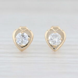 0.30ctw Diamond Heart Stud Earrings 14k Yellow Gold Round Solitaire Studs