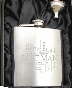 Personalised HF501 Engraved Best Man 6oz Hip Flask with Funnel and Gift Box