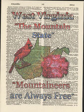 West Virginia State Map Symbols Altered Art Print Upcycled Vintage Dictionary