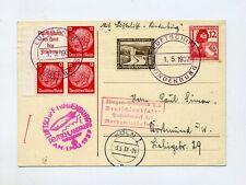 1937 Zeppelin Hindenburg bella scheda Bordo post si 453a lancio colonia Last Flight