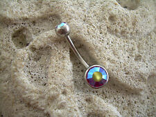 Gem Rainbow Colorful Cz Gem Mb 22 Rw 14g Belly Button Navel Ring Purple Ab Dual