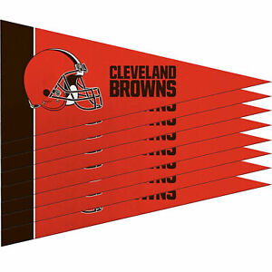 """New Cleveland Browns Mini Pennant Banner Flags 4"""" x 9"""" Fan Cave Decor 8 Pk Set"""