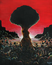 'Atomic Bonsai' Limited Signed Print painting art mushroom cloud tree bomb red