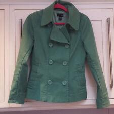 Ladies Green H&M Pea Coat Heavy Twill Cotton Size 10