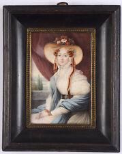 """Audim """"Portrait of a lady in Biedermeier dress"""", miniature, 1832"""
