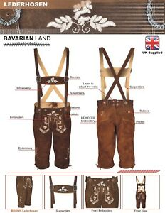 Mens Bavarian LEDERHOSEN Cowhide Brown Leather with thick embroidery