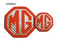 MG ZR 2004-05 Front Rear Badges MG Emblem Logo Inserts 59mm 95mm Red Carbon