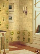 TUSCAN GOLD  TOPIARY TREES WALLPAPER BORDER / BREWSTER