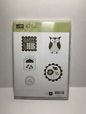 Stampin Up Punch Bunch Clear Mount Rubber Stamps Owl Birthday Baby GIft Tags