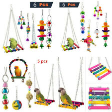 Parrot Bird Set Toy Swing Bells Hanging Bridge Wooden Chewing Colorful Toys 2019