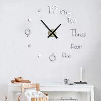 US Modern Large Wall Clock 3D Mirror Sticker Big Number Watch DIY Office Decor