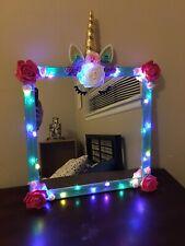 "Unicorn Mirror With Rainbow Lights, 16x16"" Multiple Colors Available. Handmade"