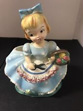 New ListingVintage Relpo Planter #A946 Girl With Scissors And Basket