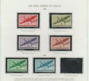 U.S. 1941-44 Airmail Selection, 5 stamps C25-C30, mint NH Fine
