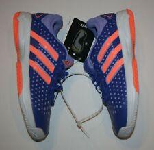 New Adidas Girls Tennis Shoes 1 Youth Running Walk Purple Orange Stripes