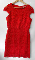 REVIEW beautiful burnt Orange Layered Lace Pencil Dress Size 12