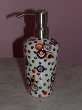 Polish Pottery Lotion or Soap Dispenser!  Happy Happy Pattern!