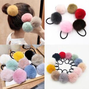 Girls Plush Hair Rope Candy Faux Fur Ponytail Elastic Rubber Band Women Headwear