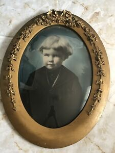 """Antique Wood Oval Frame Convex Bubble Glass Hand Tinted Picture Child 25"""" X 19"""""""