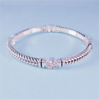 Vintage Look Braided Silver Stretch Bracelet Bali Style CZ Accent Designer Look