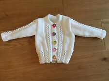 New Hand Knitted Girls White Cardigan With Strawberry Buttons, Size 12-18 Months