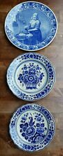 3 PIECES OF DELFT BLUE WHITE PLATES WALL CHARGERS VINTAGE ANTIQUE