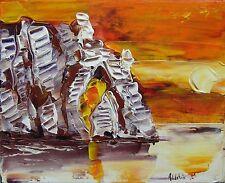 tableau original contemporain peinture paysage oil painting canva 27X22 ETRETAT