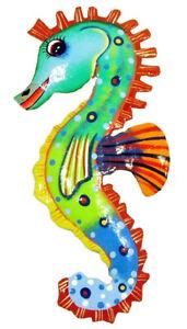 Tropical Seahorse Tiki Decor Haitian Metal Wall Art Red Fins