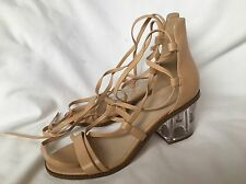 ASOS Beige Leather Sandals With Transpatent Heels UK 5(38)