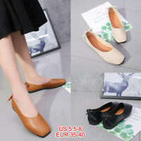 Women Ballet Soft Flat Shoes Leather Slip On Loafers Square Toe Casual Moccasins