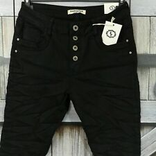KAROSTAR Damen Jeans Hose Baggy Boyfriend schwarz Knöpfe Stretch 38-48 BASIC