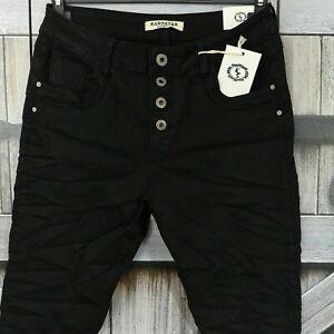 KAROSTAR Damen Jeans Hose Baggy Boyfriend schwarz Knöpfe Stretch 36-48 BASIC
