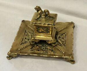 Antique Solid Brass Very Detailed Inkwell. 17cm Square x 13cm High. Weight 1095g