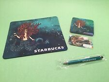 4 piece set-Starbucks Anniversary Siren Mermaid Mouse Pad, Coaster, Pen, Card