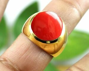 925 Sterling Silver Overlay Plated Red Coral Gemstone Statement Boys Mens Ring