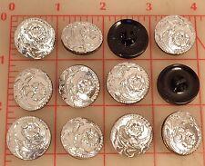 """12 vintage silver glass shank Czech buttons flower design 22mm 7/8"""" #77"""