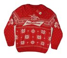 NEW Mens XL Budweiser Beer Christmas Sweater Red & White Ugly NWT Bud