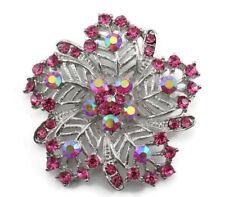 Exquisite Bridal Wedding Brooch Pin Pink Fancy Austrian Rhinestone Crystal