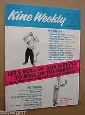 1962. KINE WEEKLY. COMPLETE WITH SUPPLEMENT. BRITISH FILM TRADE MAGAZINE