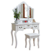 Tri-fold Mirror Dresser with Dressing Stool White Dressing Table Chest of drawer