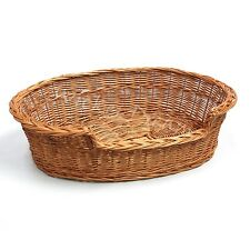 "Handcrafted Wicker Dream Dog Cat Pet Bed Basket Oval 21""  Small"