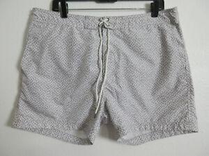 H&M Men's Regular High Rise Decorated Swim Shorts Fashion Gray Size L Inseam 5