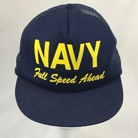 Vintage Navy Hat Full Speed Ahead Dad Cap Trucker Mesh Snap Back Made In USA