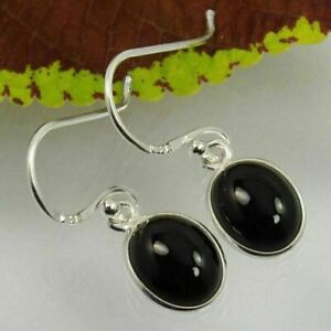 Girls Little Earrings Natural BLACK ONYX Gemstones 925 Sterling Silver Jewelry