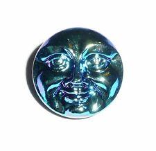 Cool Blue Czech Glass Shank Moon Face Button 18mm - Metallic Blue Button - Face