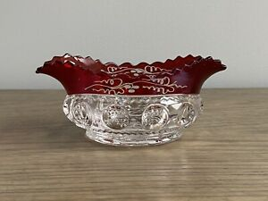EAPG RUBY STAINED KINGS CROWN Small Thumbprint Antique Berry Dessert Bowl Dish