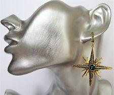 Stunning Emerald Green Crystal Dangle Drop Earrings Star Shape in Gold Tone